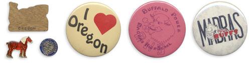 Wooden Oregon pin, horse pin, State of Oregon seal pin, I Heart Oregon, Buffalo Power: MHS, Madras White Buffs