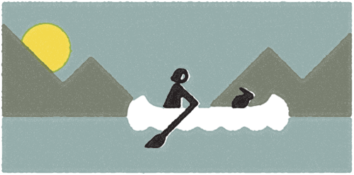 A rabbit in a canoe on a placid lake. Also, there's a sunset.