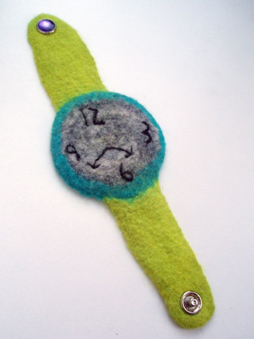 Teal and lime hand felted watch by LeBrie Rich.