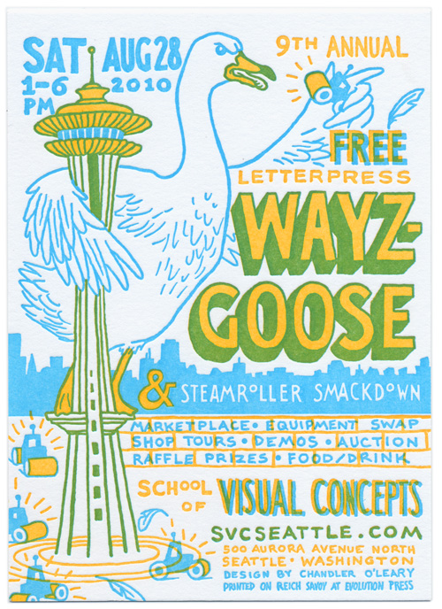9th Annual (free) Letterpress Wayzgoose & Steamroller Smackdown. Saturday August 28th, 1-6pm.