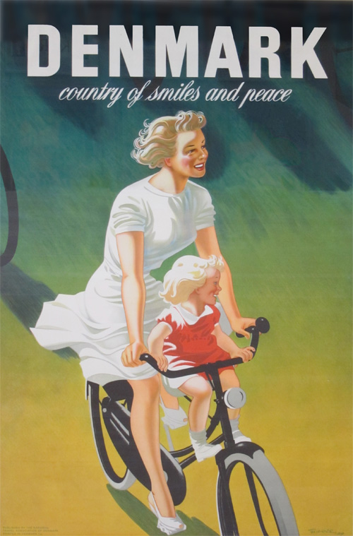 Danish Tourism Poster: Denmark, Country of Smiles and Peace - a young girl riding on the front of a woman's bicycle