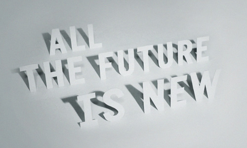 All The Future Is New wallpaper preview, made from cut out paper