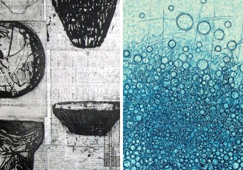 Examples of drypoint and chine collé artwork by Ritsuko Ozeki and Takahiko Hayashi