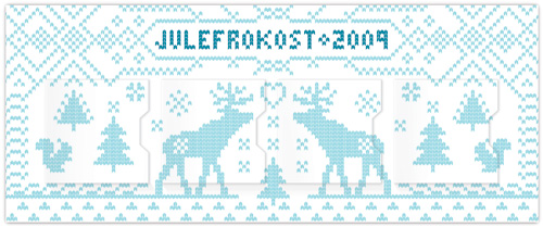 Julefrokost party invitation with knitted nordic design. Invite has four advent calendar style door flaps that open to reveal party information.