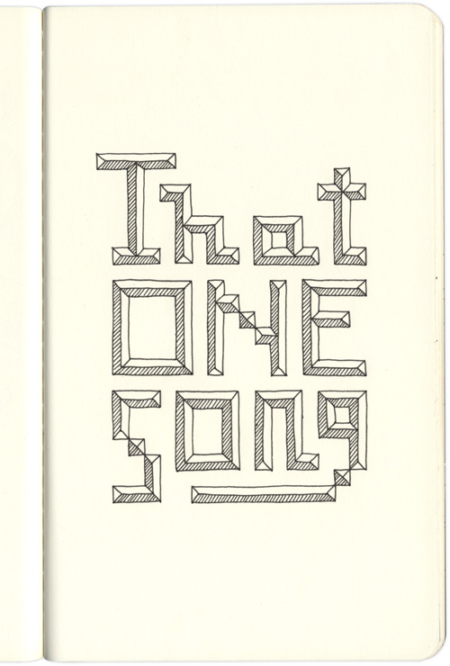 A page from my sketchbook: That One Song, tetris-like type.