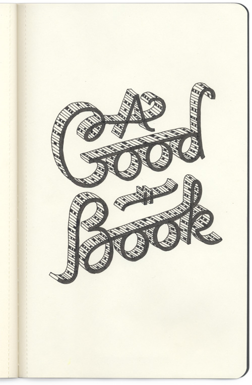 Page from my sketchbookproject - A Good Book connected script type with mitochondrial fill pattern.