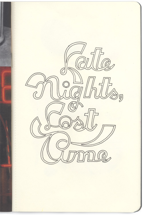 sketchbook project page - late nights, lost time, hand drawn open-faced type