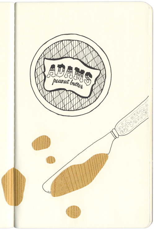 sticky Adam's peanut butter on a knife, sticks on the page opposite it