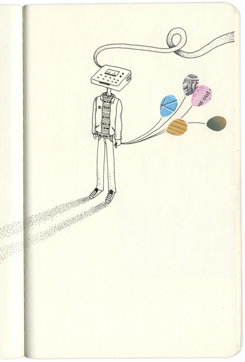 filemaker head character looks at his stippled shadow and holds some balloons