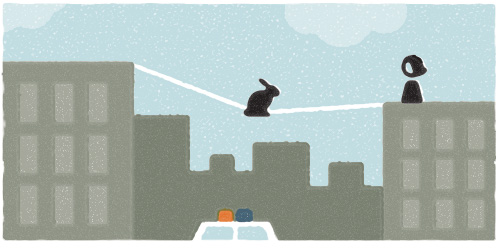 "With such a high propensity for thrill-seeking adventure, it wasn't long before my rabbit had concocted a plan to rival our Houdini ""barrel in a rushing river"" triumph. This time, he planned to traverse the buildings of New York via tightrope. The police had alternative thoughts about this dream."