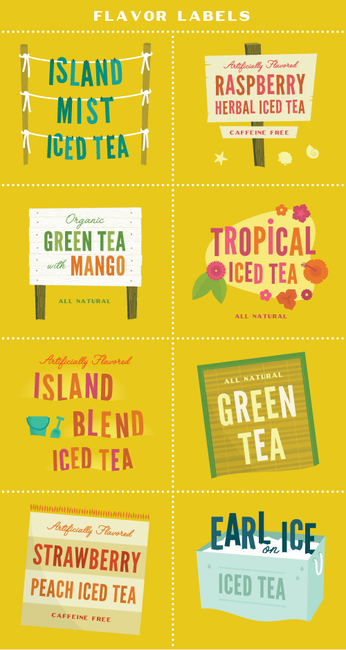 Island Mist iced tea flavors: raspberry herbal iced tea, organic green tea with mango, tropical iced tea, island blend iced tea, green tea, strawberry peach iced tea, and earl grey iced tea.