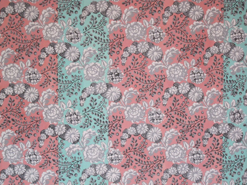 Pink and teal flowery royal wallpaper.