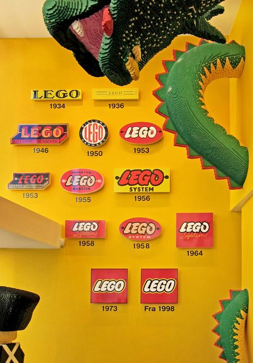 A history of Lego logos in a Copenhagen Lego store.