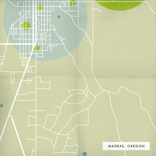 Map of Madras, Oregon showing transportation, green spaces and waterways.