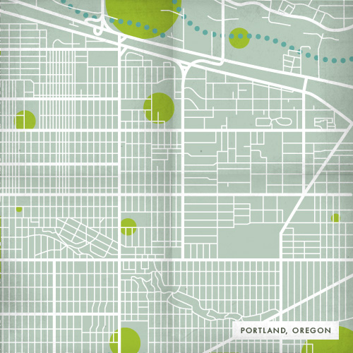 Map of Portland, Oregon showing transportation, green spaces and waterways.