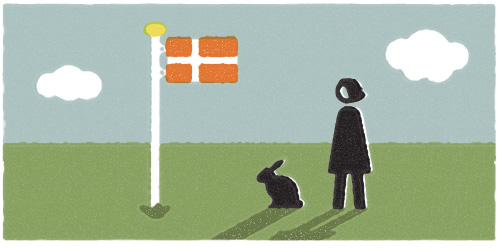 Pioneer Rabbit stands at attention for Dannebrog, the oldest flag in existence.