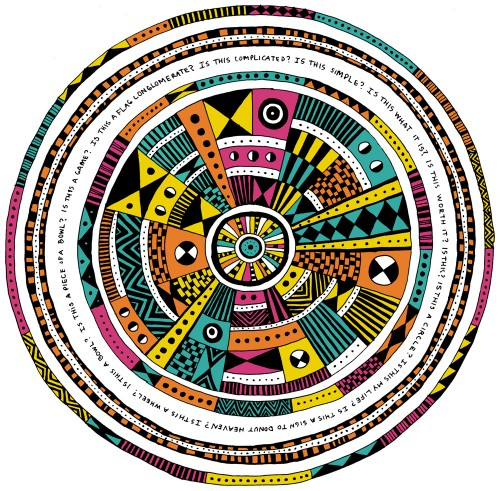 Cave man aztec style pattern circle illustration with neon 80s color scheme.