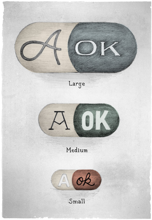 Three AOK placebo pills in various sizes: small, medium and large. Guaranteed to help you combat the stresses and worries of the day without any detrimental or long-term side effects.