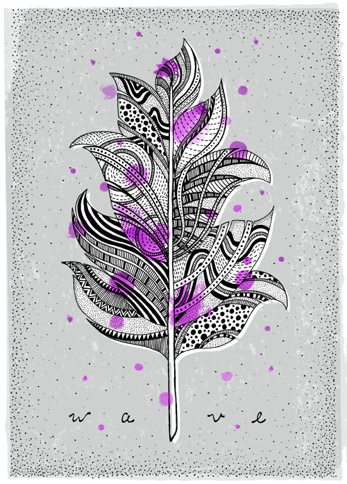 Hand illustrated feather with textures and patterns on a bluish screen print background with neon magenta splotches.