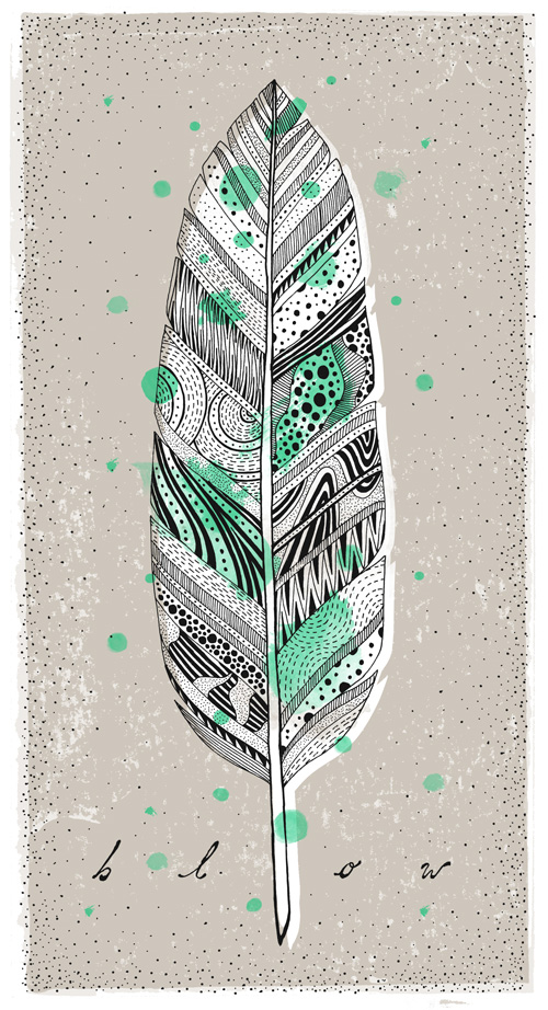 line drawing feather with various patterns inside the feather, a screen printed background and some splotchy neon green dots. Tasty.