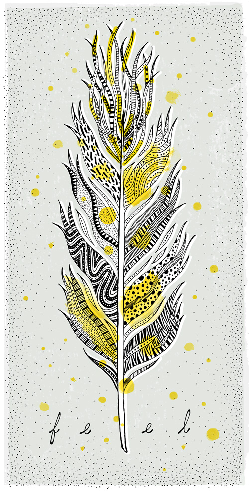 A wavy fluttery feather with lots of fine feathering at the top. The parts are filled with textures of lines and dots and zigs and zags and circles and wholes and patterns on top of a screen print texture and hand stippled background.