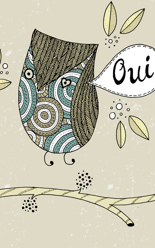 A smitten French owl whispering OUI filled with patterns and textures.