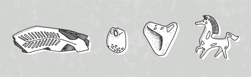 Hand drawn hieroglyphs, three rocks and a horse. The left most rock is a petrified leaf from John Day / Fossil area in Oregon. The horse is a figurine from the Black Stallion movie.