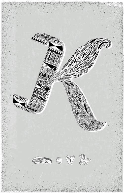 Intricate hand drawn letter K with tribal, feather and mitochondrial patterns.
