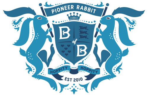 Royal coat of arms shield with bunnies and hearts and banners unfurling held by my pioneer rabbit, for the Bureau of Betterment.