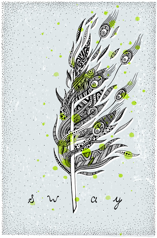 Texture filled feather illustration.