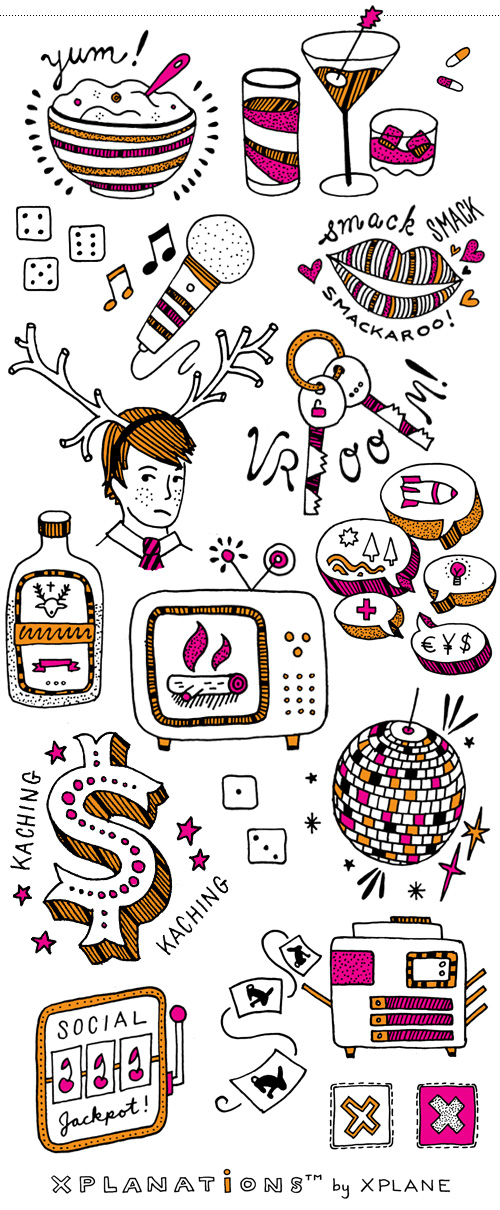 Spot illustrations for Xplane Holiday Game: bowl of porridge, drinks and pills, unfortunate antler costume, talking politics, getting a giant bonus, yule log on the television set, designated driver, jagermeister, disco ball, social jackpot machine, copy machine shenanigans, roll the dice.