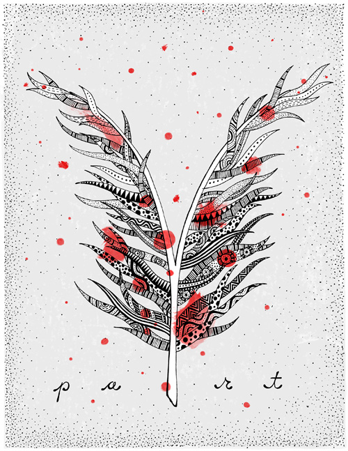 Black line drawing of a split feather filled with patterns and covered with red watercolor dots.