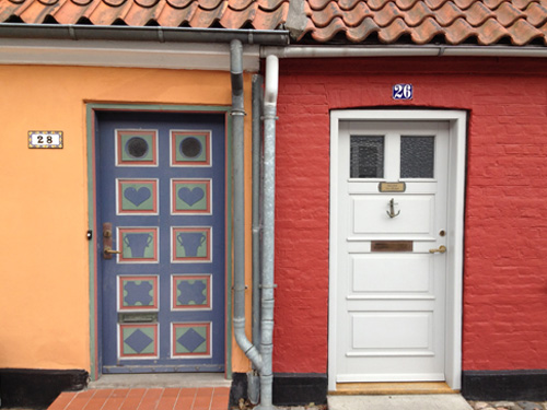 Front doors of two Danish houses in Køge Denmark.
