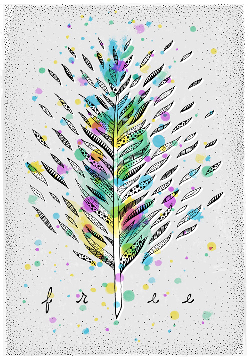 line drawn feather with patterns and textures in the feather parts, overlaid with multi-color watercolor textures