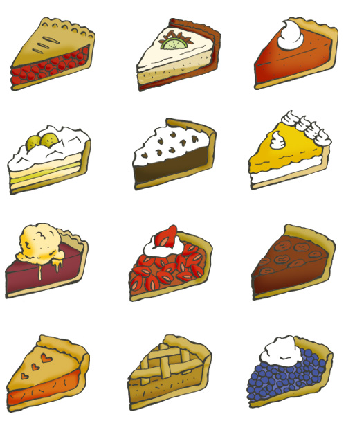 Twelve pie illustrations: cherry pie, key lime pie, pumpkin pie, banana cream pie, chocolate cream pie, lemon custard, pie a la mode, strawberry pie, pecan pie, peach pie, apple pie and blueberry pie.