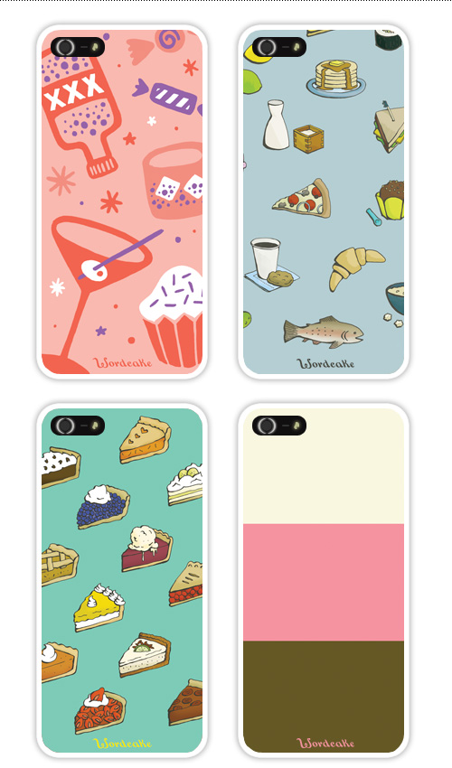 iPhone cases with food designs: pie, ice cream, cocktails, cupcakes, pancakes, pizza, fish, croissants et al.