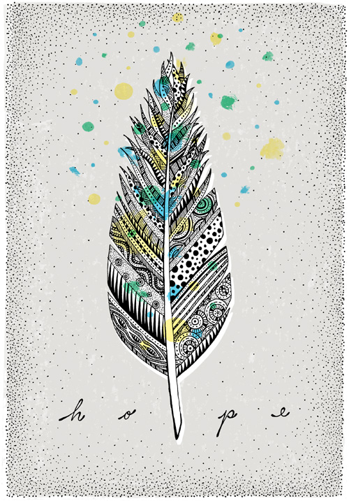 One short of a dozen, here is another pattern filled quill feather. The watercolor accents hover at the tip, floating upwards in hope and lightness.