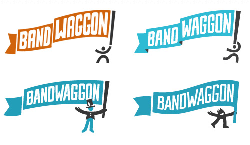 Logo process excerpts: sketch, digital sketch and two later design rounds.