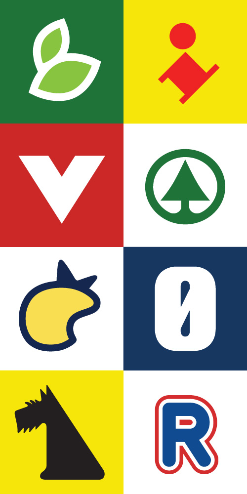 Danish supermarket logos reduced to their simplest recognizable form: SuperBest, Lidl, Kvickly, Spar, Irma, Føtex, Netto, Rema 1000.