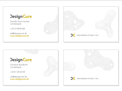 "Business cards with variable organic shapes wrapping around the card. Tagline translates roughly to ""peoples' well-being in space""."