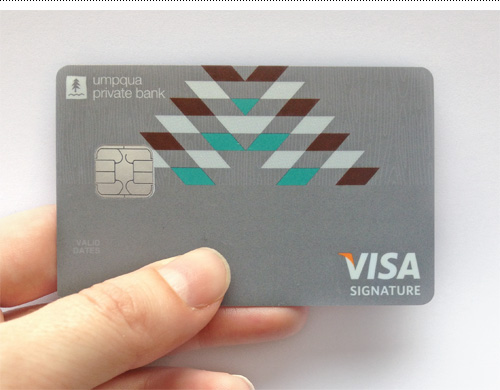 A blank version of the Visa card design for Umpqua Private Bank.