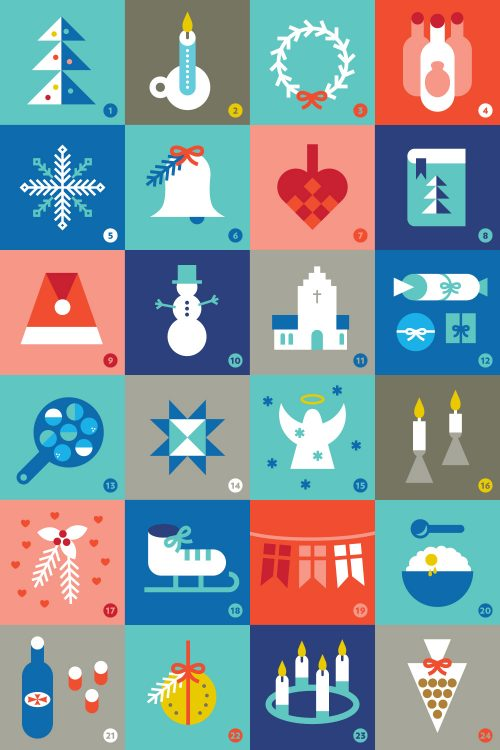Twenty four days of Danish Christmas icons presented in julekalender format.