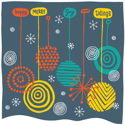 Happy, merry, joy and tidings. Multi-colored illustrated holiday ball decorations on a night sky background.