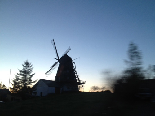 Dusk and a windmill in the Mols area of Denmark.