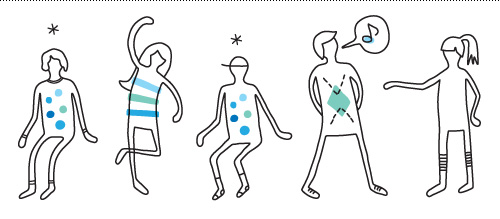 "Illustration for the icebreaker ""memory"", which involves matching pairs of body shapes, sounds or movements that people demonstrate."
