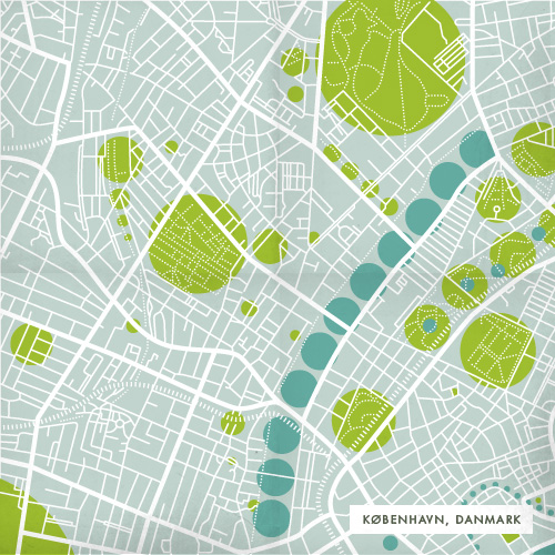 road and greenspace diagram of Copenhagen