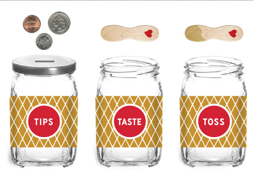 Off-the-shelf tip and spoon jars with printed wraps.