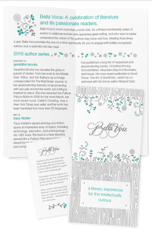 Bella Voce brochure and guest card, two of thirteen deliverables in the collateral series.