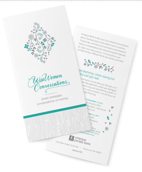 Wise Women Conversations brochure and event card.