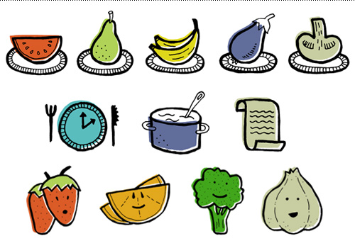Small plates, plan icons and testimonial fruit & veggie characters.